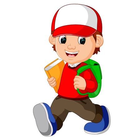 Escuela de niño de dibujos animados caminar