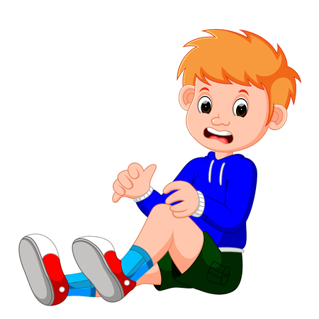 Boy crying with a scratch on his knee