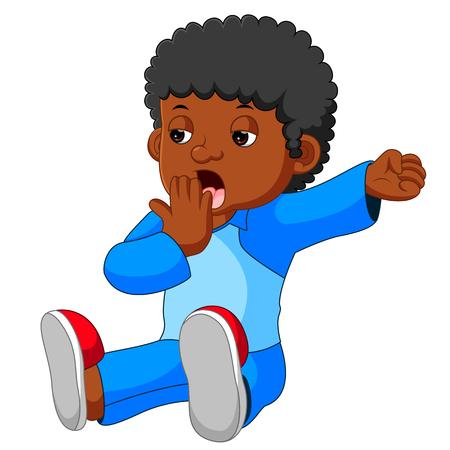 yawning: Kid yawning and stretching