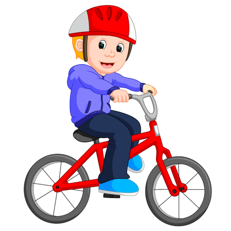Boy cycling cartoon Illustration