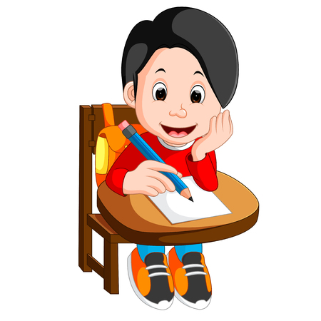 Happy schoolboy writing in class