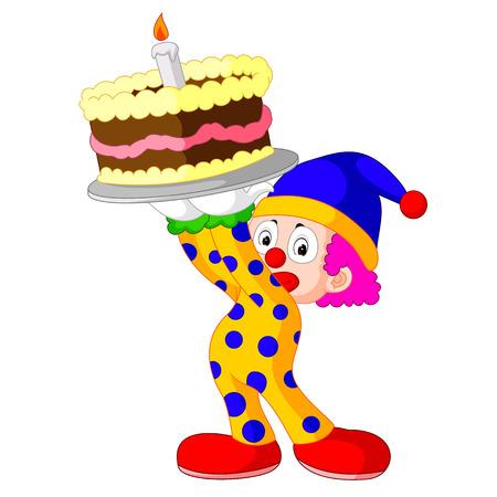 comedy show: Cartoon clown with cake