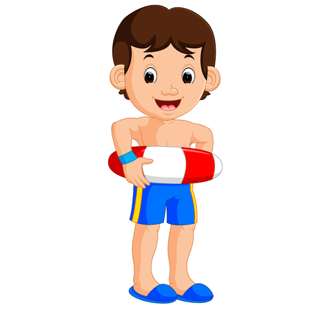 Boy cartoon with inflatable ring