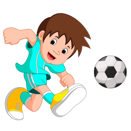 Boy cartoon playing football Illustration
