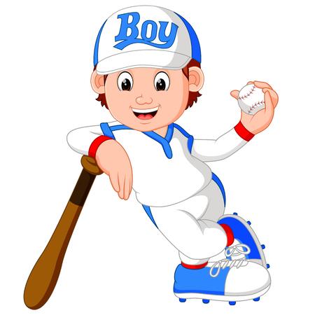 pitching: illustration of boy baseball player
