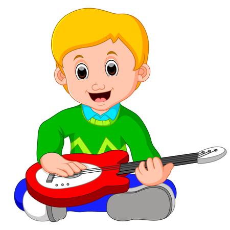 Little boy cartoon playing guitar Illustration