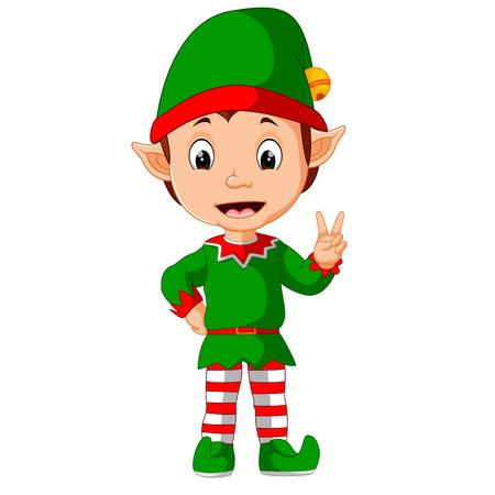 hilarious: Cute christmas elf cartoon presenting Illustration