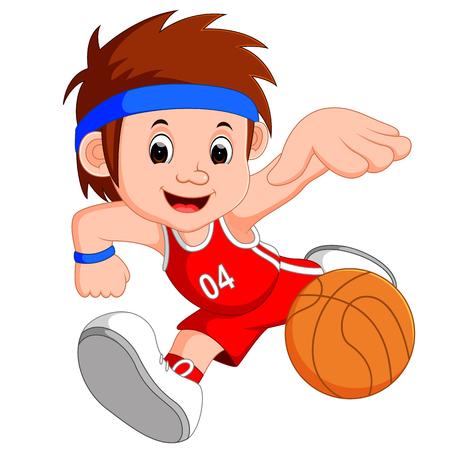 男の子のバスケット ボール選手