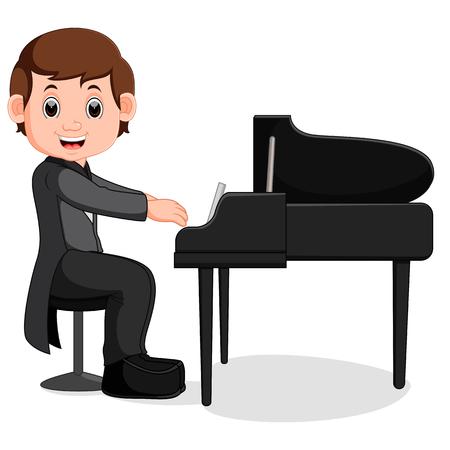Leuke kleine jongen cartoon piano spelen Stockfoto