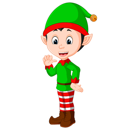 Presentazione cartoon carino di elfo di natale