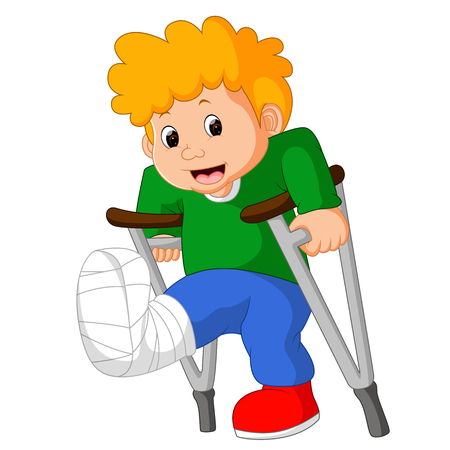 little man with broken leg Stock Photo