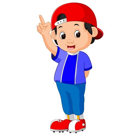 boy raising point finger