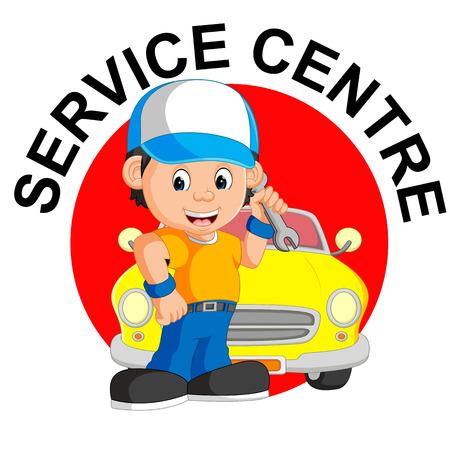 repairs: Mechanic repairs car