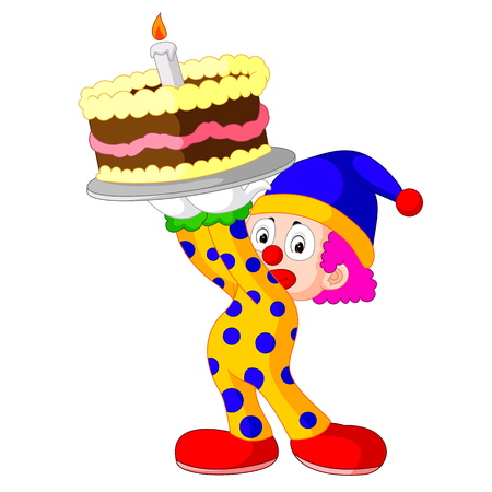 comedy: Cartoon clown with cake