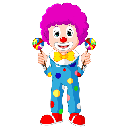 Colorful Friendly Clown With Lollypop Illustration