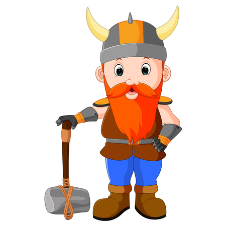 Viking cartoon with a big hammer Illustration