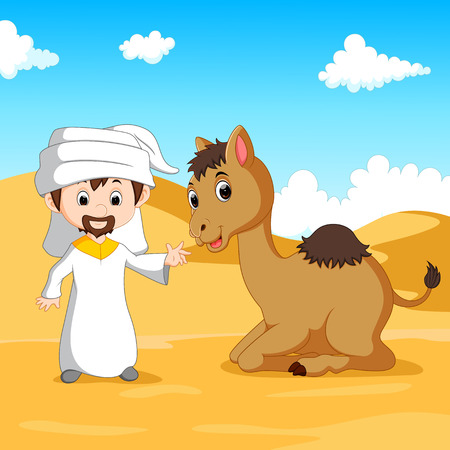 sand dunes: Illustration of Arab boy and a camel in the desert
