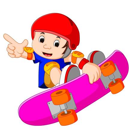 cool guy: Cool Little Skateboard Guy Doing an Extreme Stunt