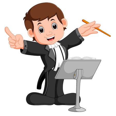 Chef d'orchestre orchestre avec son bâton
