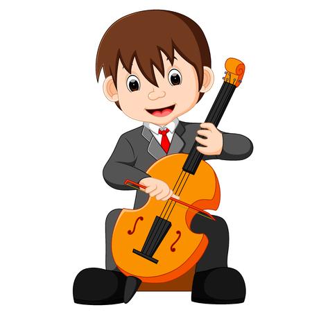 boy playing cello cartoon Illustration