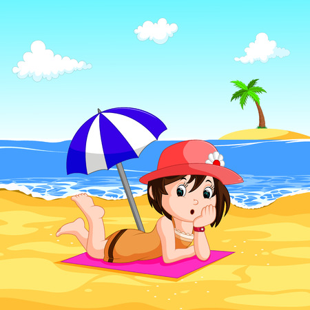 Illustration of a lady enjoying summer at the beach Illustration