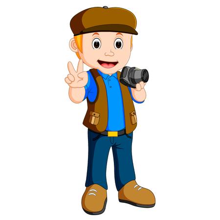 Personaje de dibujos animados - fotógrafo Foto de archivo - 79449422