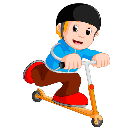 Illustration of a boy playing push bicycle