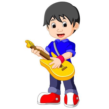 Little boy cartoon playing guitar Stock Photo