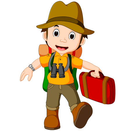大きなバックパックを持つ漫画旅行者