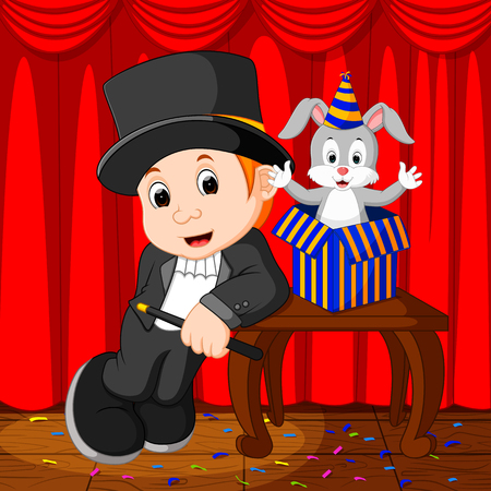 illustration of a magician performing on a stage