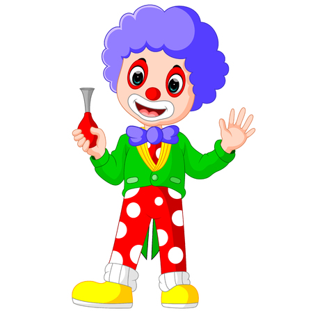 stage makeup: cute clown holding horn