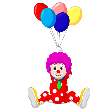 stage makeup: clown holding colorful balloon