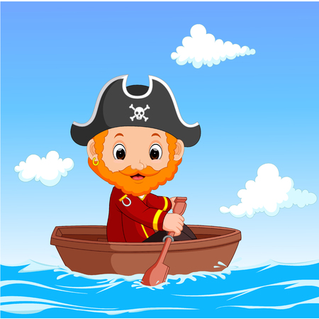 pirate crew: Cartoon little pirate was surfing the ocean