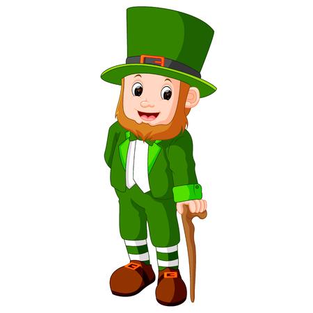 elves: illustration of Cartoon funny leprechaun Stock Photo