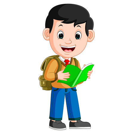 kids boy carrying book cartoon Stock Photo