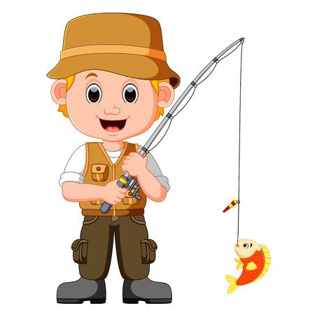 Cartoon man fishing Illustration