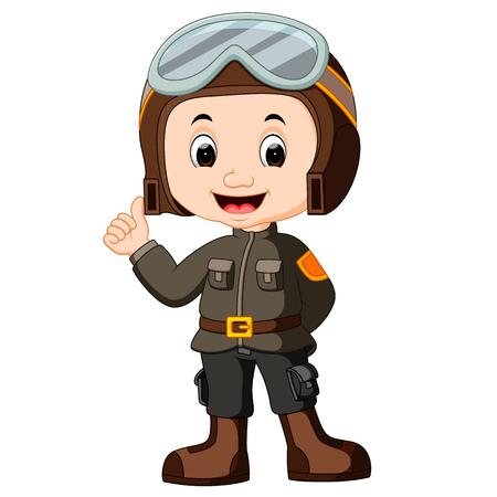 cute pilot cartoon Stock Photo