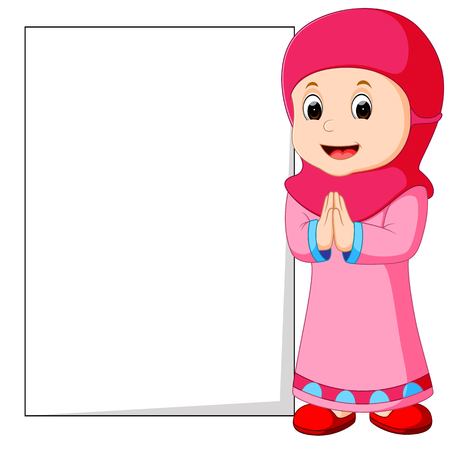Happy muslim girl cartoon holding blank sign Иллюстрация