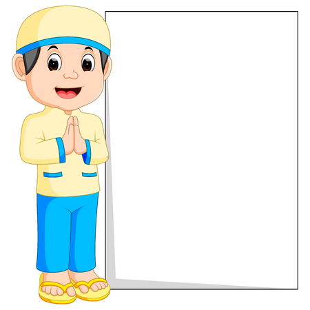 Happy muslim boy cartoon holding blank sign