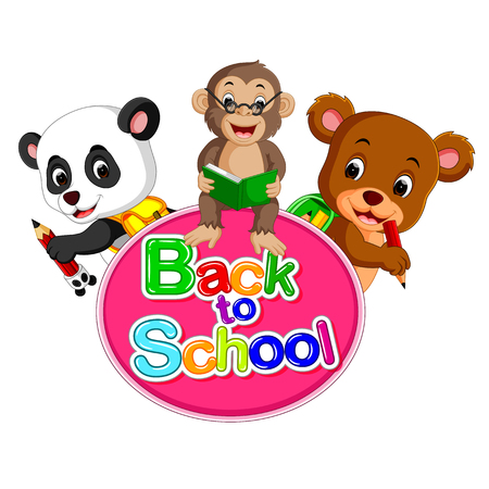 Cute panda, monkey and a bear are going back to school.