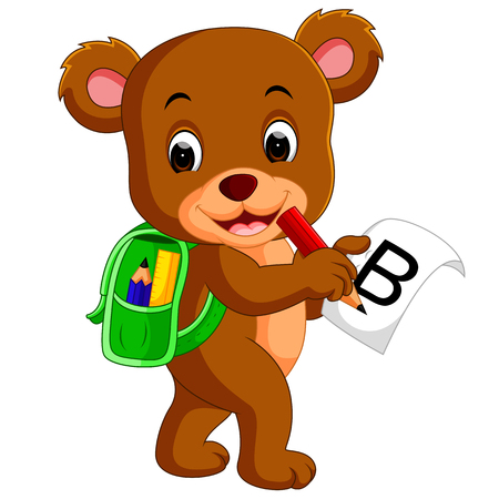 Cute bear with backpack