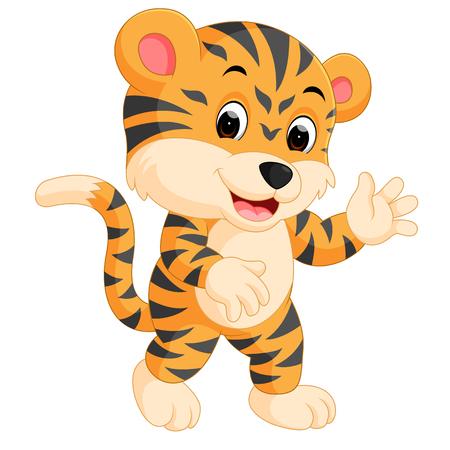 Cute tiger cartoon giving thumb up Vektorové ilustrace