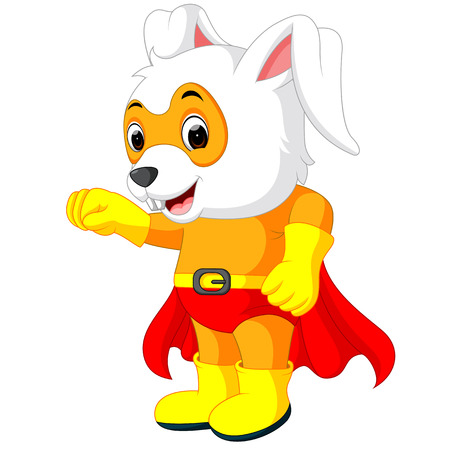 caped: A cute cartoon superhero Easter Bunny