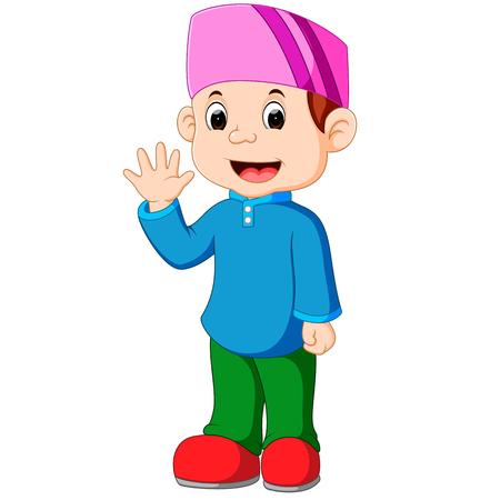 humble: Happy Muslim kid cartoon