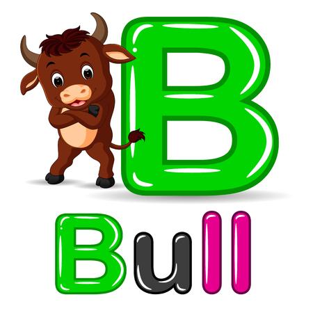 leccion: Alfabeto de los animales: B es para Bull Vectores