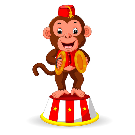A cute monkey playing percussion hand cymbals. Ilustração