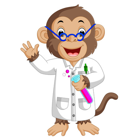 Monkey Conducting a Laboratory Experiment 일러스트