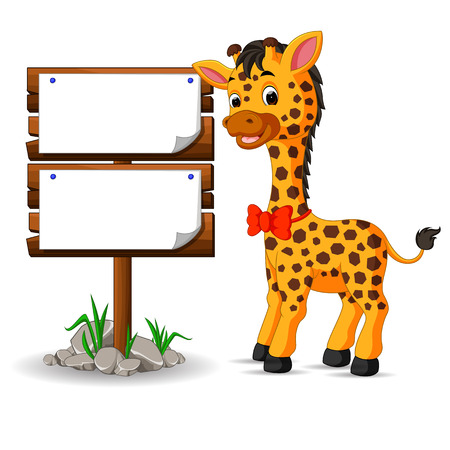 scalable: Cute giraffe with blank sign