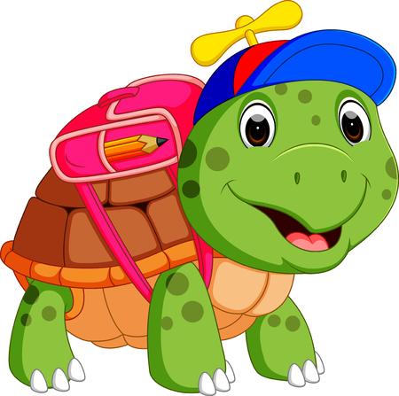 Cute turtle go to school Stock Illustratie
