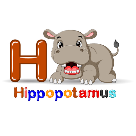 Animals alphabet: H is for Hippo
